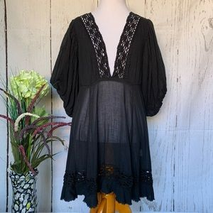 Free People Boho Sheer Tunic Black Lace Dress XS